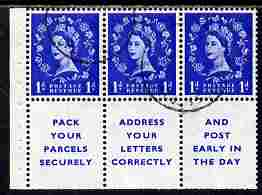 Booklet Pane - Great Britain 1955-58 Wilding 1d ultramarine Edward Crown booklet pane of 6 (3 stamps plus Pack Your Parcels Securely) with inverted watermark fine used with good perfs SG spec SB29a