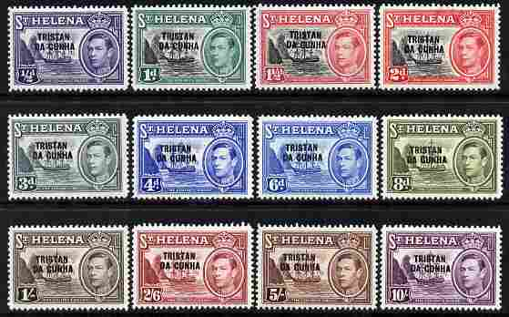 Tristan da Cunha 1952 KG6 overprint definitive set complete 12 values 1/2d to 10s unmounted mint SG 1-12