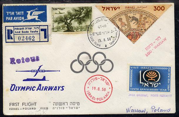 Israel 1958 Olympic Airways reg first flight cover to Poland bearing 1957 Stamp Exhibition triangular & Plane over Olive Tree Stamps (SG 76 & 141) various handstamps & ba...