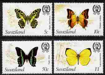 Swaziland 1982 Butterflies the set of 4 each with wmk to right of CA (as seen from the back) unmounted mint SG 393-6 plus photocopy of memo from Gibbons referring to the ...