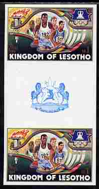 Lesotho 1984 Los Angeles Olympic Games 1m (Running) imperf proof gutter pair from the uncut proof sheet unmounted mint as SG 594