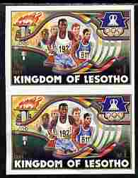 Lesotho 1984 Los Angeles Olympic Games 1m (Running) imperf proof pair from the uncut proof sheet unmounted mint as SG 594 slight wrinkles