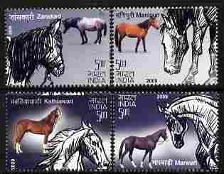 India 2009 Horses perf set of 4 values unmounted mint