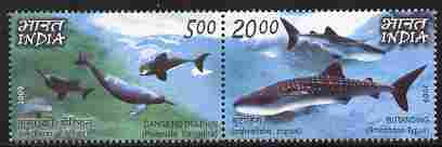 India 2009 Sharks & Dolphins perf set of 2 in se-tenant pair unmounted mint