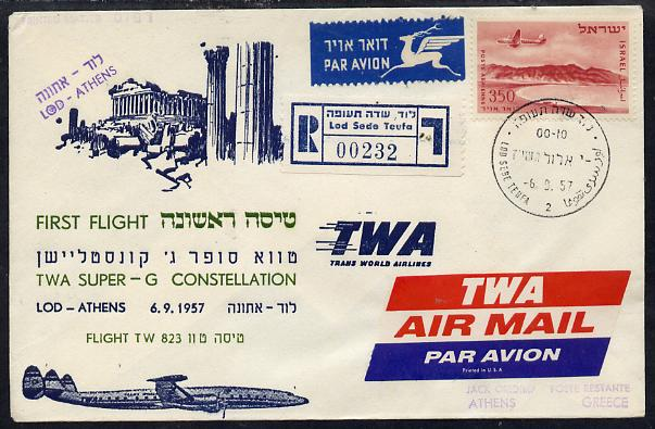 Israel 1957 TWA First flight reg cover to Athens, various handstamps & backstamps (Illustrated with Plane & Parthenon) Flight TW 823