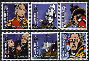 Guernsey - Alderney 2005 Bicentenary of Battle of Trafalgar perf set of 6 unmounted mint SG A253-58