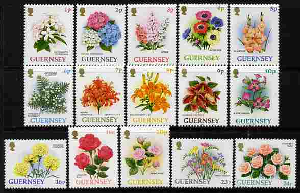 Guernsey 1992-97 Flowers definitive set of 15 values 1p to 24p unmounted mint SG 562-75