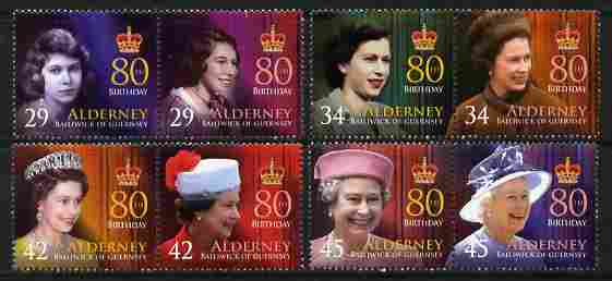 Guernsey - Alderney 2006 80th Birthday of Queen Elizabeth II perf set of 8 (4 se-tenant pairs) unmounted mint SG A274-81
