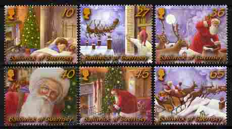 Guernsey 2003 Christmas - Twas the Night Before Christmas perf set of 6 unmounted mint, SG 1009-14