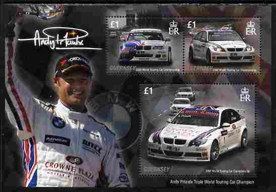Guernsey 2008 Andy Priaulx's Triple World Touring Car Champion perf sheetlet containing 3 x \A31 values unmounted mint, SG MS 1198