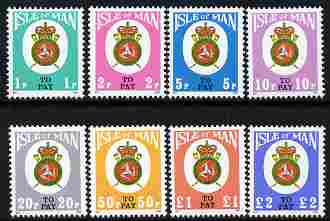 Isle of Man 1982 Postage Due Post Office Badge complete set of 8 unmounted mint, SG D17-24