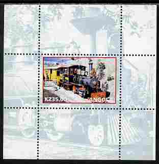 Angola 2001 Walt Disney Railraod #01 individual perf sheet with country name & value in white, background in blue, unmounted mint