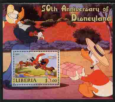 Liberia 2005 50th Anniversary of Disneyland #19 (Goofy) perf s/sheet unmounted mint, stamps on disney, stamps on cinema, stamps on movies, stamps on cartoons, stamps on entertainments, stamps on