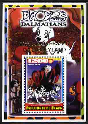 Benin 2005 Disney's 102 Dalmations #1 perf m/sheet overprinted 50th Anniversary of Disneyland in gold unmounted mint. Note this item is privately produced and is offered purely on its thematic appeal