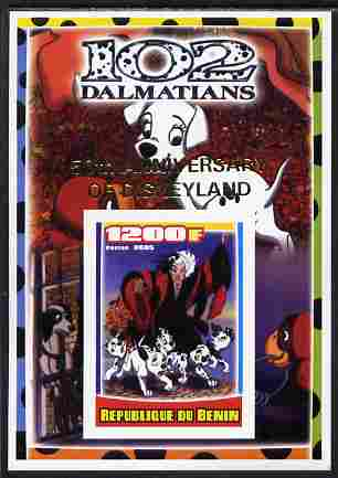 Benin 2005 Disney's 102 Dalmations #1 imperf m/sheet overprinted 50th Anniversary of Disneyland in gold unmounted mint. Note this item is privately produced and is offered purely on its thematic appeal