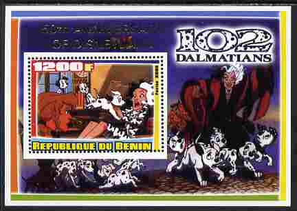 Benin 2005 Disney's 102 Dalmations #3 perf m/sheet overprinted 50th Anniversary of Disneyland in gold unmounted mint. Note this item is privately produced and is offered purely on its thematic appeal