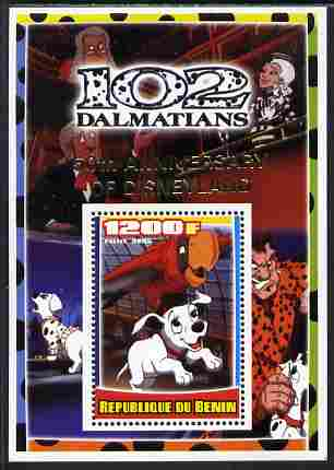 Benin 2005 Disney's 102 Dalmations #4 perf m/sheet overprinted 50th Anniversary of Disneyland in gold unmounted mint. Note this item is privately produced and is offered purely on its thematic appeal, stamps on disney, stamps on filmes, stamps on cinema, stamps on movies, stamps on cartoons, stamps on dogs, stamps on