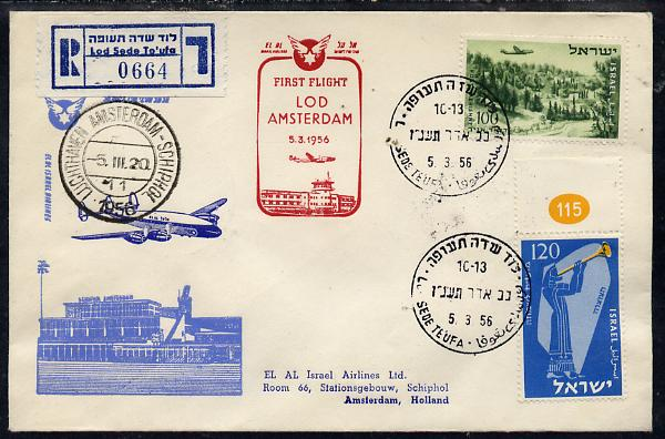 Israel 1956 El-Al Israel Airlines First flight reg illustrated cover to Amsterdam, bearing Air stamps with various markings & backstamps