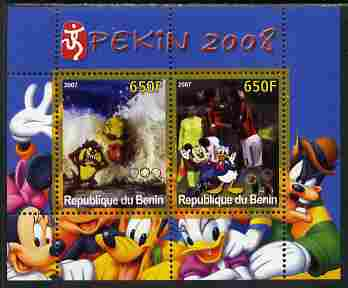 Benin 2007 Beijing Olympic Games #23 - Swimming & Football perf s/sheet containing 2 values (Disney characters in background) unmounted mint. Note this item is privately ...