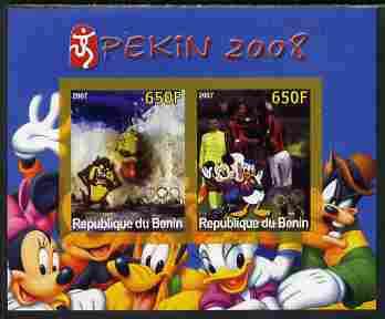 Benin 2007 Beijing Olympic Games #23 - Swimming & Football imperf s/sheet containing 2 values (Disney characters in background) unmounted mint. Note this item is privately produced and is offered purely on its thematic appeal