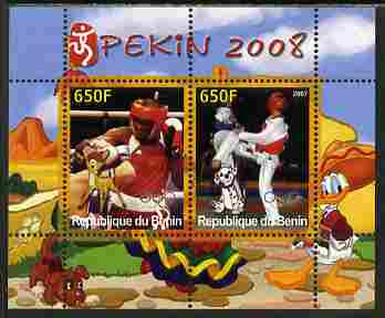 Benin 2007 Beijing Olympic Games #24 - Boxing & Taekwondo perf s/sheet containing 2 values (Disney characters in background) unmounted mint. Note this item is privately produced and is offered purely on its thematic appeal