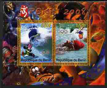 Benin 2007 Beijing Olympic Games #25 - Swimming perf s/sheet containing 2 values (Disney characters in background) unmounted mint. Note this item is privately produced and is offered purely on its thematic appeal
