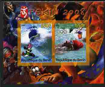 Benin 2007 Beijing Olympic Games #25 - Swimming imperf s/sheet containing 2 values (Disney characters in background) unmounted mint. Note this item is privately produced ...