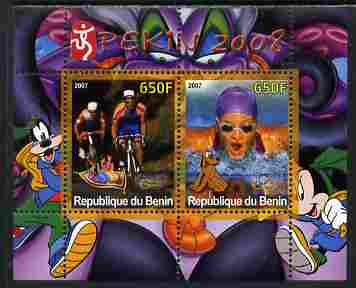 Benin 2007 Beijing Olympic Games #26 - Cycling & Swimming perf s/sheet containing 2 values (Disney characters in background) unmounted mint. Note this item is privately p...