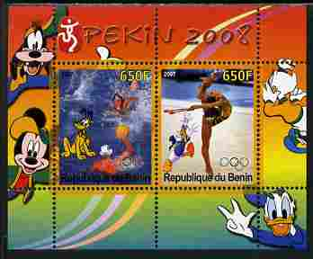 Benin 2007 Beijing Olympic Games #28 - Water Polo & Gymnastics perf s/sheet containing 2 values (Disney characters in background) unmounted mint. Note this item is privat...