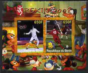 Benin 2007 Beijing Olympic Games #30 - Fencing & Football imperf s/sheet containing 2 values (Disney characters in background) unmounted mint. Note this item is privately...