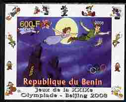 Benin 2008 Beijing Olympics - Disney Characters - Scenes from Peter Pan #1 - individual imperf deluxe sheet unmounted mint. Note this item is privately produced and is offered purely on its thematic appeal