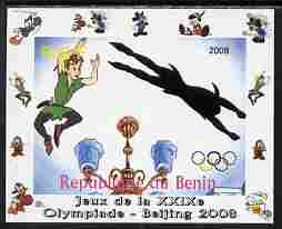 Benin 2008 Beijing Olympics - Disney Characters - Scenes from Peter Pan #3 - individual imperf deluxe sheet unmounted mint. Note this item is privately produced and is offered purely on its thematic appeal
