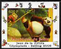 Benin 2008 Beijing Olympics - Disney Characters - Scenes from Kung Fu Panda #2 - individual imperf deluxe sheet unmounted mint. Note this item is privately produced and is offered purely on its thematic appeal