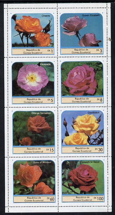 Equatorial Guinea 1976 Roses set of 8 unmounted mint (Mi 972-79A)