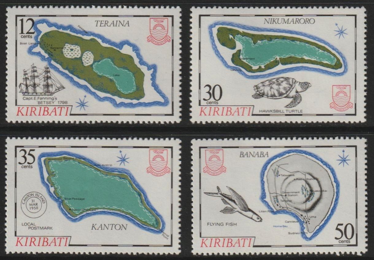 Kiribati 1984 Island Maps #3 set of 4, SG 215-8 unmounted mint*