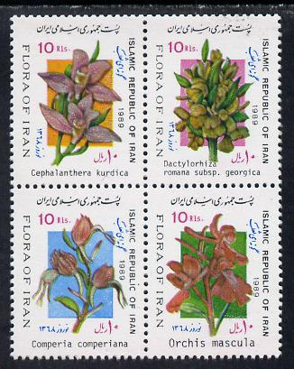 Iran 1989 New Year Festival (Orchids) se-tenant block of 4 unmounted mint, SG 2515a