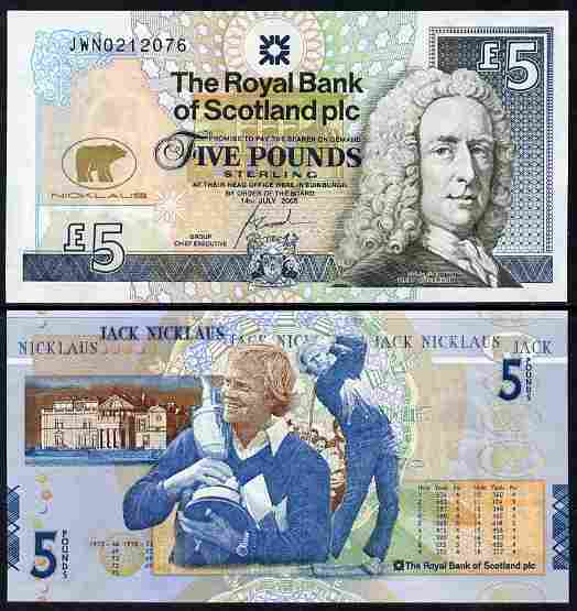 Great Britain - Scotland 2005 Jack Nicklaus \A35 note issued by Royal Bank of Scotland unfolded and fine