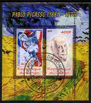 Congo 2010 Pablo Picasso perf sheetlet containing 2 values fine cto used