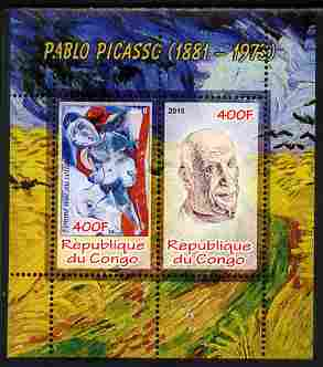 Congo 2010 Pablo Picasso perf sheetlet containing 2 values unmounted mint