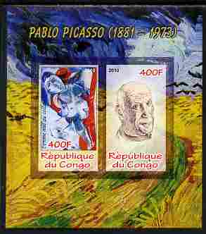 Congo 2010 Pablo Picasso imperf sheetlet containing 2 values unmounted mint