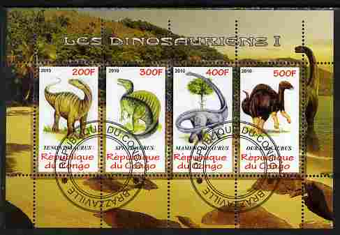Congo 2010 Dinosaurs #01 perf sheetlet containing 4 values fine cto used