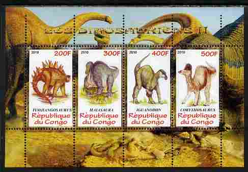 Congo 2010 Dinosaurs #02 perf sheetlet containing 4 values unmounted mint, stamps on dinosaurs