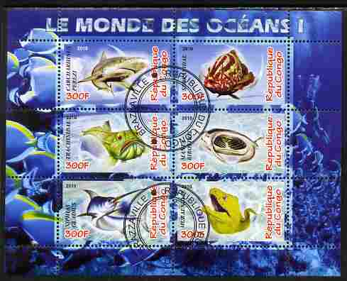 Congo 2010 Ocean Life #01 perf sheetlet containing 6 values fine cto used