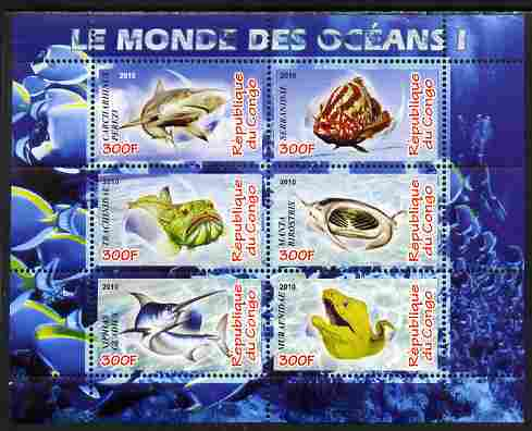 Congo 2010 Ocean Life #01 perf sheetlet containing 6 values unmounted mint