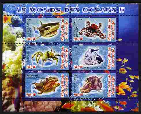 Congo 2010 Ocean Life #02 perf sheetlet containing 6 values unmounted mint