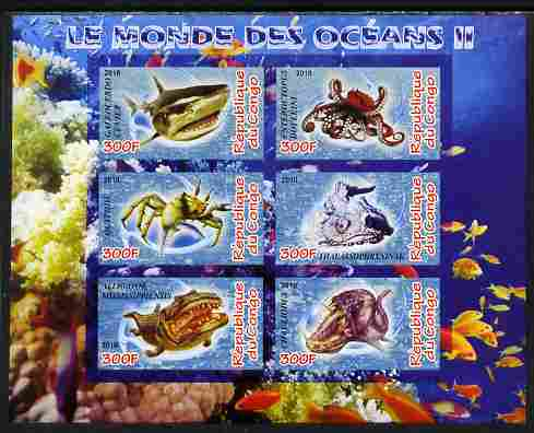 Congo 2010 Ocean Life #02 imperf sheetlet containing 6 values unmounted mint