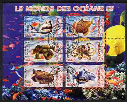 Congo 2010 Ocean Life #03 perf sheetlet containing 6 values fine cto used