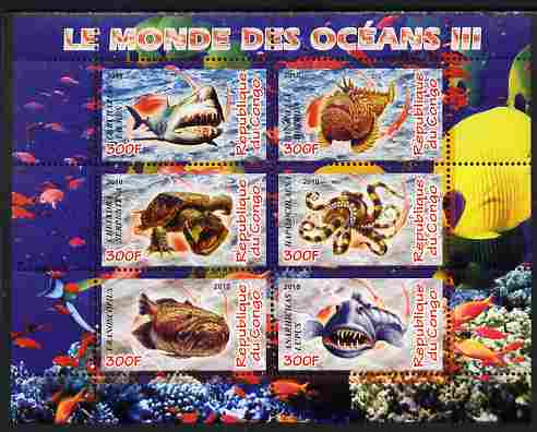 Congo 2010 Ocean Life #03 perf sheetlet containing 6 values unmounted mint, stamps on marine life, stamps on fish, stamps on coral