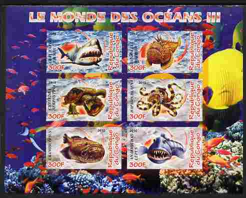Congo 2010 Ocean Life #03 imperf sheetlet containing 6 values unmounted mint