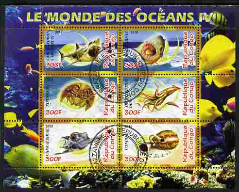 Congo 2010 Ocean Life #04 perf sheetlet containing 6 values fine cto used